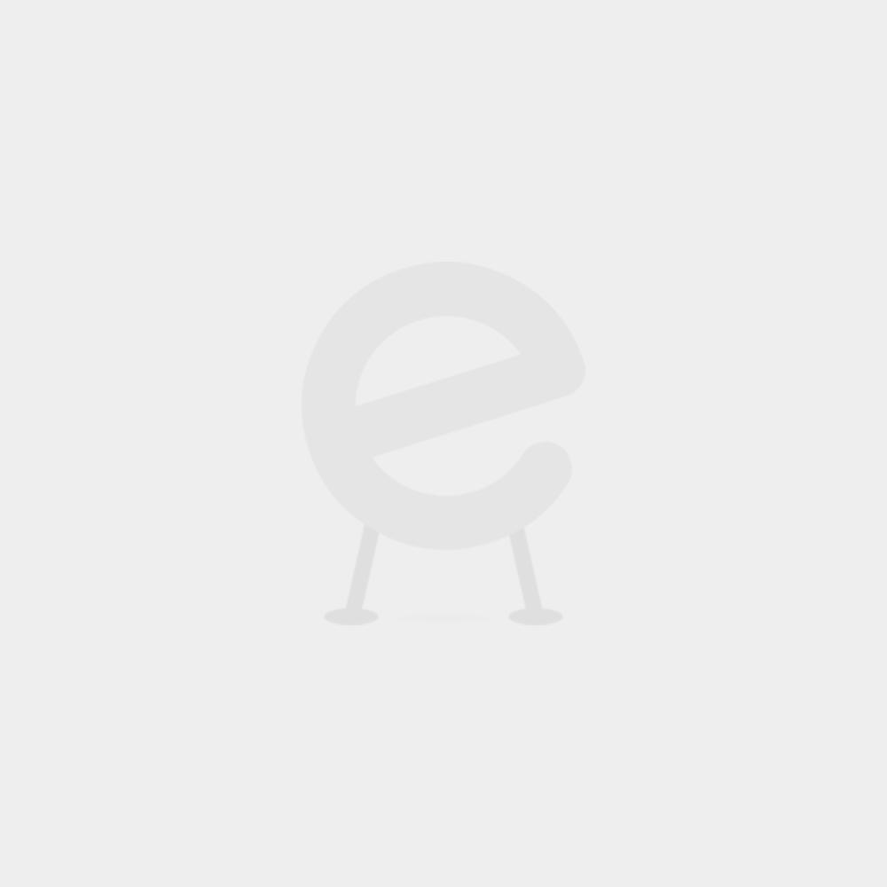 Halbhochbett Charlotte mit Schreibtisch und Regalen - weiß