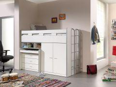 Bonny 70er Halbschwelle mit Schreibtisch, Kommode und Kleiderschrank - weiß