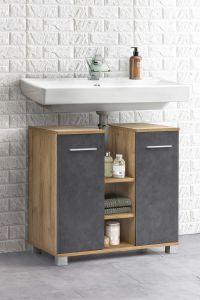Waschbeckenunterschrank mit 2 Türen und 3 Fächern mittig Bad Kao - Korpus Alteiche Melamin Front Graphit Dekor