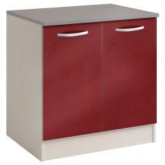 Basiseinheit Löffel 80 cm mit 2 Türen - glänzend rot