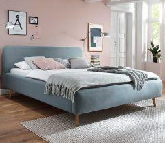 Gedempt bed Mattis - 160x200 cm - ijsblauw