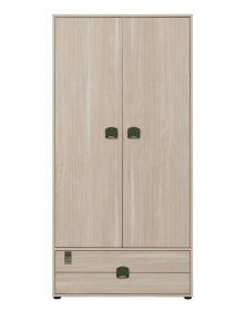 INDIANA - Armoire 2 portes 1 tiroir Chêne clair