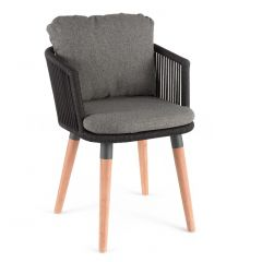 Amalfi dining chair alu charcoal / rope / teak