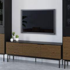 Tv unit SOMA 721 - TV-unit with 3 doors - BLACK/ESPRESSO