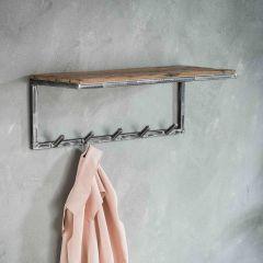 Garderobe grained 5 Haken Hutablage - Robustes Hartholz