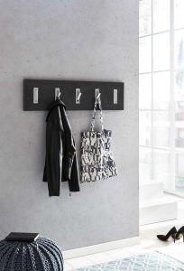 Garderobenpaneel quer mit 5 Klapphaken - Melamin Dekor Graphit
