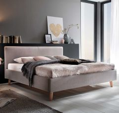 Gedempt bed Paula - 160x200 cm - taupe