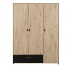 ARTHUS - Armoire 3 portes 1 tiroir Chêne artisan