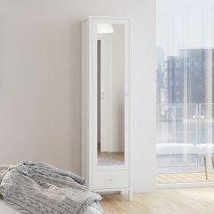 Wardrobe TROMSÖ 117 - Wardrobe with 1 mirrored door and 1 drawer - WHITE
