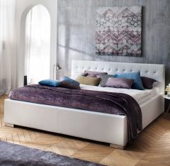 Gedempt bed Sandra Comfort - 140x200 cm - Wit