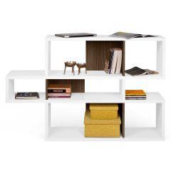 Bücherschrank Lissabon 1 - weiß / Nussbaum