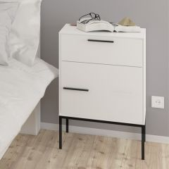 Nightstand SLIMLINE 02 - Nightstand with 1 drawer/softclose and 1 door  - WHITE/STEEL BLACK