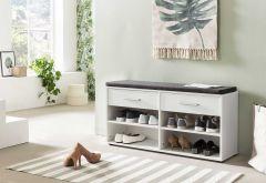 Schuhregal mit 4 Fächern, 2 Schubladen und Sitzkissen - Melamin Weiß Dekor