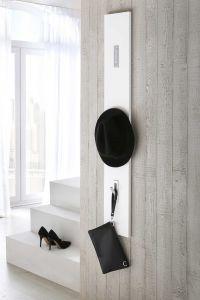 Garderobenpaneel mit 3 Klapphaken - MDF Weiß Hochglanz Dekor Melamin