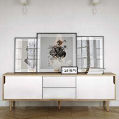 Sideboard Danny mit Schubladen - weiß/Eiche