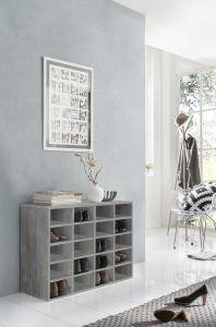 Aufsatz für Schuh- und Wohnregal mit 20 Fächern - Beton Melamin Dekor