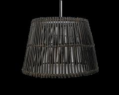 Hängelampe - ø48 cm - Rattan - schwarze Waschung