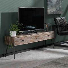 TV-Schrank Teca 3 Schubladen - Teakholz grau waschen