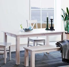 Dining table MONACO 401 - Dining table with 1 extension leaf - WHITE WASH