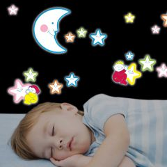 Wandsticker 3D Smiling Stars - Glow in the Dark