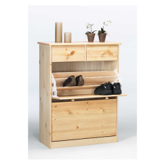 Shoe cabinet MARIO 188 - Shoe storage cabinet with 2 drawers and 2 flap doors - NATURAL LACQUER