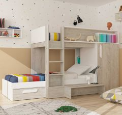 BO6 Bed+bed 2 drawers Cascina/White color
