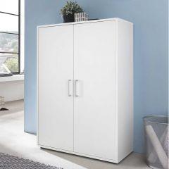 Serie Maxi-Office, Schrank breit mit 2 Türen, 110,5 cm hoch - Weiß Dekor