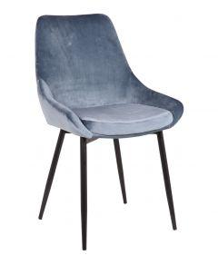 Stuhl 'Mirano' Velours Blau Schwarz Beine - 2er Set