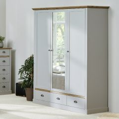 Wardrobe SANDRINGHAM 107 - Wardrobe closet with 3 doors and 2 drawers - GREY/WAX