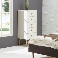 Dresser SOFT LINE 005 - Dresser with 5 drawers - WHITE