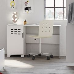 Desk LOKE 080 - Desk with 1 door - EXTRA WHITE