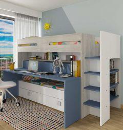 BO10 Bunk bed with desk Cascina/Smoky Blue