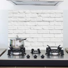 Wandaufkleber Weiße Ziegel Rückwand Küche