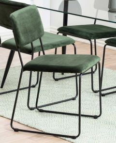 Cornelia dining chair - forest green, matt black - set of 2