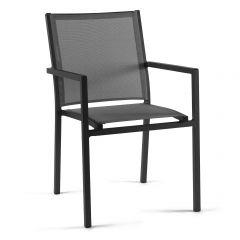 Bari stacking chair alu charcoal mat text silv gre