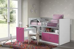Halbhochbett mit Schreibtisch Bonny 91 - pink