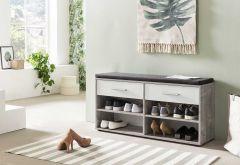 Schuhregal mit 4 Fächern, 2 Schubladen und Sitzkissen - Melamin Beton Dekor Front Weiß