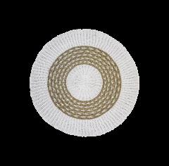 Teppich - ø120 cm - Raffia / Segras - weiß / naturfarben