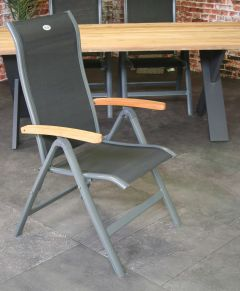 Torino folding chair with teak armrest