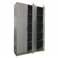Schrank Ray 120cm mit 3 Türen und 4 Einlegeböden - Eiche grau