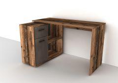 ALBRECHT 1 - Schreibtisch-Kombination - Old Style dunkel/Stahl dunkel