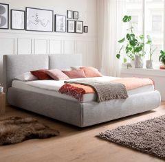 Gestoffeerd bed Atesio incl. bedbodem, incl. matras - 180x200 cm - lichtgrijs