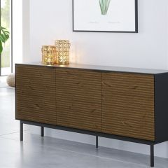 Siderboard SOMA 036 - Sideboard with 3 doors - BLACK/ESPRESSO
