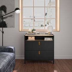 RANGEMENT NUIT - AMSTERDAM chest with 1 compartment and 2 drawers Natural chestnut