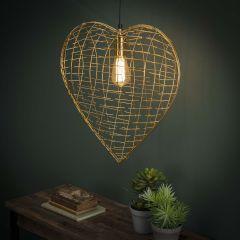 Herz oder Gold Hängelampe - Gold