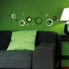 Wandaufkleber 3D Schwarzweiß Kreise - Schaumstoffaufkleber