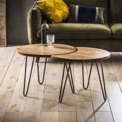 Couchtisch set - 2 Ø60 - Massiv acacia naturel