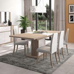 ASTON - Table rectangulaire 1 allonge pied fût Chêne Krönberg clair