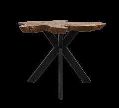 Couchtisch Victoria - ø60-70x45 cm - Teak / Eisen