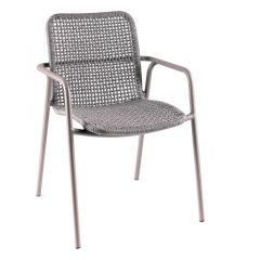 Diego stacking chair alu quartz grey rope grey mel